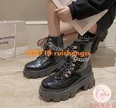 英倫系帶馬丁靴女式復古漆皮粗跟厚底短靴【大碼百分百】
