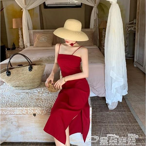 小禮服法式紅色吊帶裙子夏季修身顯瘦氣質收腰一字肩性感連身裙夏小禮服 雲朵走走