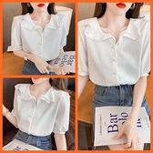 韓系甜美短袖白襯衫 共1色 S-XL 依Baby