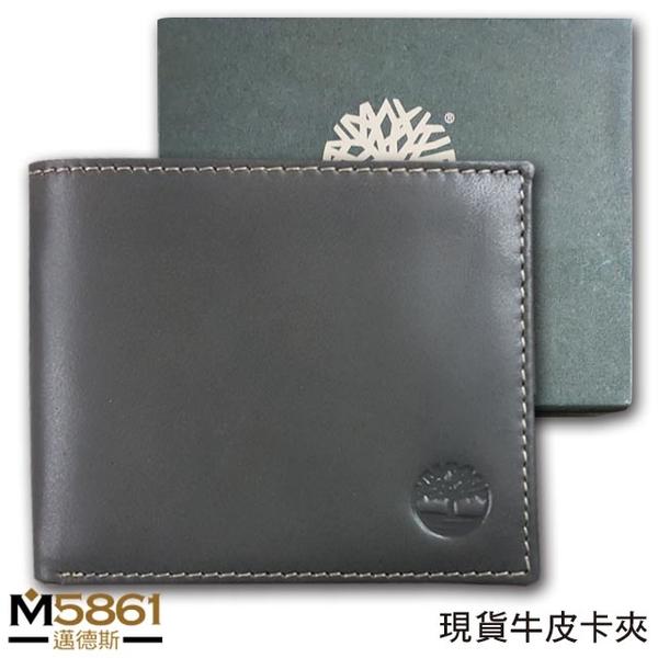 【Timberland】男皮夾 短夾 牛皮夾 多卡夾 大鈔夾 品牌盒裝/灰色