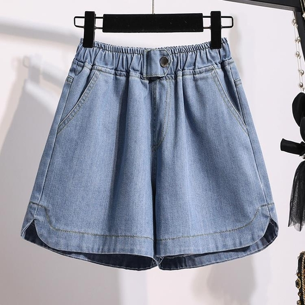牛仔短褲 加大碼女裝2021年夏季新款200斤胖妹妹寬鬆闊腿熱褲高腰牛仔短褲 快速出貨