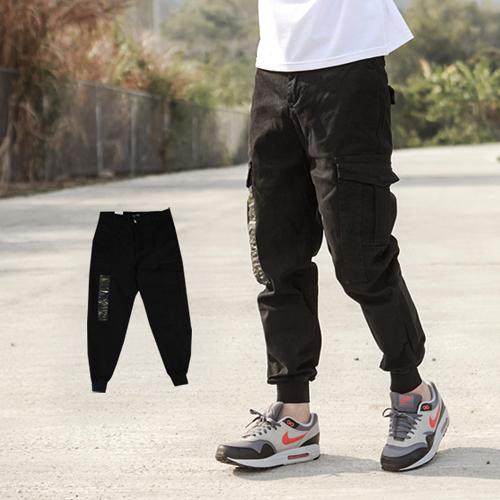 長褲 韓國製迷彩造型立體口袋工作褲縮口褲【NB0508J】