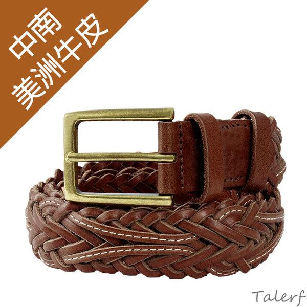 TALERF雕刻編織皮帶(紅咖色/共2色)-女 /真皮 牛皮/台灣製造