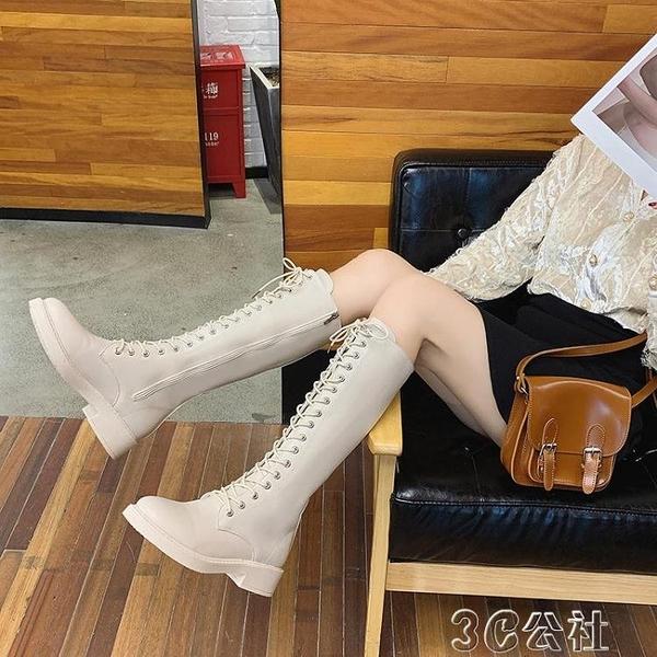 長靴女 馬丁靴女2019秋冬新款高筒騎士靴過膝長靴女粗跟瘦瘦靴子中跟 快速出貨