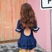 新款兒童泳衣女童韓版連體裙式中大童游泳衣
