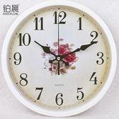 鉑晨歐式靜音掛鐘客廳臥室辦公時鐘簡約時尚掛表現代創意石英鐘表