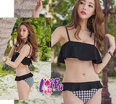 來福,C219千鳥大荷葉二件式泳衣游泳衣泳裝比基尼,售價699元