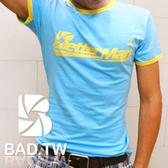 奢華壞男《BetterMan限量款 - 超舒適彈性合身剪裁T恤 (藍底滾黃邊) 》【S / M / L / XL / XXL】
