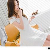 OB嚴選《DA4598-》素色挖肩拼接睫毛蕾絲傘襬洋裝.2色--適 S~L