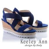 ★2018春夏★Keeley Ann休閒假期~交叉設計真皮楔型涼鞋(藍色) -Ann系列