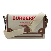 【台中米蘭站】全新品 BURBERRY Horseferry Note印花帆布翻蓋斜背包(8036820-米白棕)