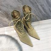 店長推薦ins歐洲站新款冬季加絨LIN網紅尖頭高跟細跟短靴子中筒瘦瘦靴