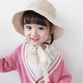 帽子 女童 遮陽 草帽 夏天 蕾絲綁帶 遮陽帽 漁夫帽 可折疊