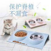 寵物斜口碗貓碗不銹鋼貓食盆貓糧碗狗飯盆雙碗貓咪用品3色可選【萬聖節88折