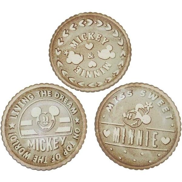 小禮堂 迪士尼 米奇米妮 日本製 陶瓷盤3入組 (棕餅乾款) 4959079-29014