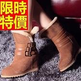 中筒雪靴-內增高皮毛一體皮帶扣女靴子5色62p46【巴黎精品】