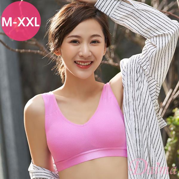 黛瑪Daima (M-XXL)時尚運動蜂巢無痕透氣V領後扣背心式內衣_淺紫紅8015