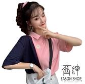 EASON SHOP(GW6610)實拍小雛菊刺繡撞色拼接薄款長版排釦POLO衫短袖T恤女上衣服落肩寬鬆內搭衫棉T