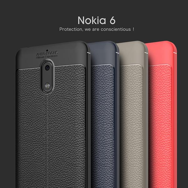 King*Shop~諾基亞2.3.6荔枝紋皮紋手機殼Nokia8.9硅膠軟殼荔枝紋保護套個性防摔潮男女款