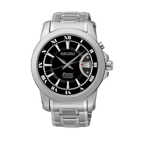 SEIKO Premier 經典大三針萬年曆男腕錶/黑面/42mm/6A32-00X0D