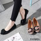 PAPORA潮流C字平底娃娃鞋K5086黑/卡其(偏小)