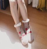 珊瑚絨襪子女加絨加厚可愛卡通秋冬居家睡眠防滑毛巾襪保暖聖誕襪 雅楓居
