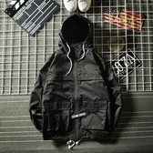 秋季純色太空磨砂黑多口袋沖鋒上衣外套潮牌男士百搭日系寬鬆夾克