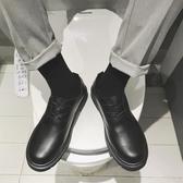 大頭鞋 圓頭小皮鞋男正韓潮流英倫百搭青少年學生大頭黑色內增高西裝鞋子【全館免運】