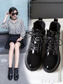 皮靴 chic粗跟馬丁靴女加絨亮皮短靴韓版百搭高跟短筒靴 伊鞋本鋪