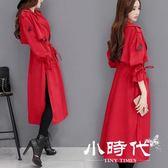風衣外套-過膝風衣女中長版外套收腰薄款大衣潮
