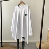 長袖t恤女秋冬2021新款韓版ins潮白色打底衫中長款加絨寬鬆上衣服 貝芙莉