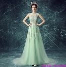 (45 Design) 訂製款 7天到貨禮法國蕾絲修身一字公主新娘婚紗禮服齊地蓬蓬顯瘦11