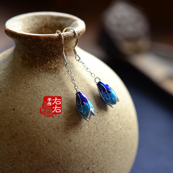 原創手工中國風玉蘭花之蓮景泰藍烤瓷燒藍長款耳環耳飾配禮盒1入