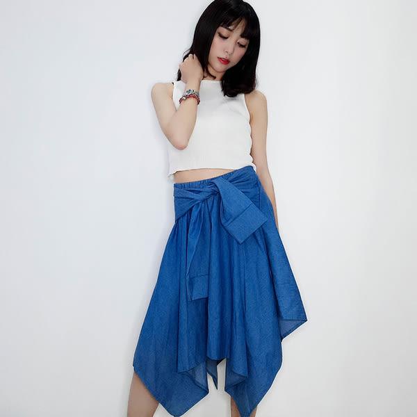 【GZ72】牛仔裙 歐美鬆緊縮腰不規則假兩件牛仔半身裙 中長裙