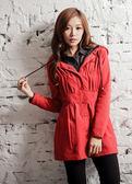 【BTIS】連帽長版女風衣外套 紅色