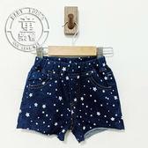 童裝 印刷 星星 捲邊 牛仔 短褲