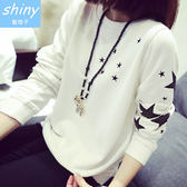 【V0134-19】shiny藍格子-瑕疵特賣.五角星星圓領寬鬆長袖薄款T恤