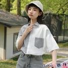 拼接襯衫 帛卡琪2021夏新款韓版豎條紋拼接短袖襯衫女學生寬鬆口袋半袖襯衣【618 狂歡】