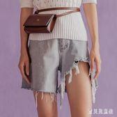 2018夏新款高腰牛仔短褲修身不對稱流蘇闊腿褲女 BF4674『寶貝兒童裝』
