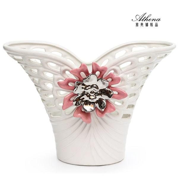 【雅典娜家飾】粉色花朵魚尾鏤空花器-FB253
