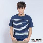 BIG TRAIN  印條山型繡花圓領T-男-深藍