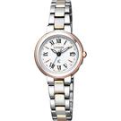 限量款 CITIZEN xC 光動能羅馬電波女錶-白x雙色版/24mm ES9004-52A