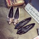 韓版金屬扣尖頭鞋 低跟淺口小跟大碼鞋工作...