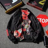 (百貨週年慶)胖子個性兩面穿夾克男大尺碼寬鬆外套卡通春秋嘻哈日系棒球服
