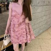 無袖洋裝 小禮服洋裝很仙的小眾夏季2021新款甜美重工洋氣無袖背心裙子女【快速出貨】