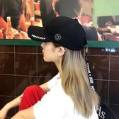 韓版帽子女夏天百搭原宿風鐵環鴨舌帽棒球帽男潮學生黑色遮陽帽  LannaS