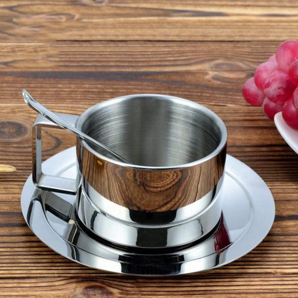 304不鏽鋼咖啡杯 套裝3件組 雙層不鏽鋼隔熱 杯子不燙手好用時尚美觀