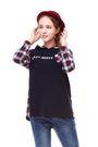 【 BETTY BOOP 】秋冬品牌服飾特賣~格紋背面連袖搭素面連帽上衣   NO.BW87268