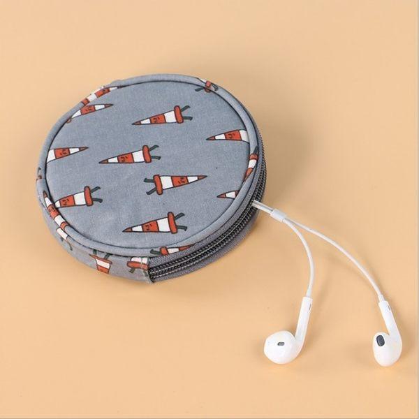 《J 精選》小清新圓形防潑水零錢包/耳機小物袋