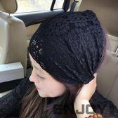 韓版發飾頭巾 蕾絲褶皺寬邊發帶